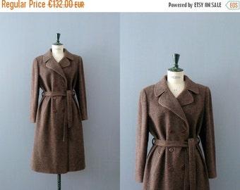40% OFF SALE // Vintage tweed coat. 1970s trench wool coat. brown tweed coat