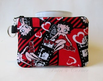 Handmade small pouch with zipper - split key ring - Happy Betty boop in the movies - coin purse - makeup bag - credit cards - ready to ship