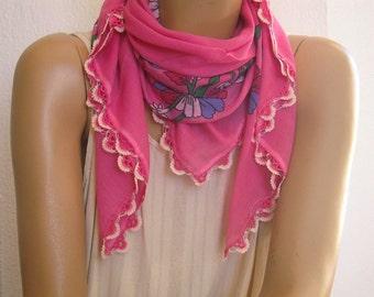 pink cotton scarf with crochet edging, turkish oya