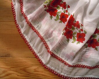 cotton scarf with crochet beaded trim, white, red flower