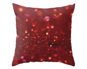 Photo Pillow Case, Red Abstract Art Studio Sofa Accent, Glitter Macro Photography, Teenage Girl's Bedroom Large Throw Cushion Cover, Bokeh