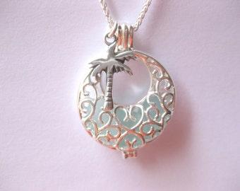 Palm tree jewelry  beach glass jewelry sea glass pendant palm tree  pendant