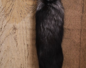 Huge INDESTRUCTIBLE Silver Fox Fur Tail for Keychain or Belt Loops