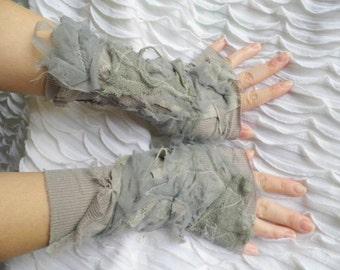 Gloves,goth, steampunk, victorian, fingerless gloves, armwarmers, tattered gloves, Corpse Bride,Ghost, halloween, performance, grey,women