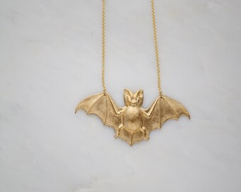 Gold bat necklace,bat necklace,happy bat ,halloween necklace,whimsical bat jewellery,halloween party outfit jewellery,woodland inspired