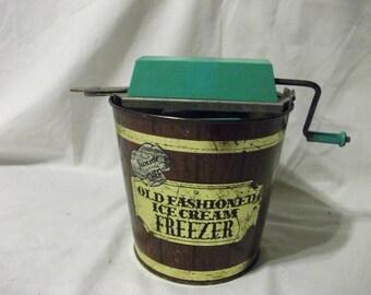 Vintage Childs Toy Ice cream Freezer - Junior Chef Old Fasioned Ice Cream Freezer