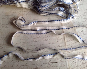 Vintage Trim. French Tape, Blue & White Lip Cord Piping. Old New Stock 5 yards Antique French Trim, Dolls Bears Crafts