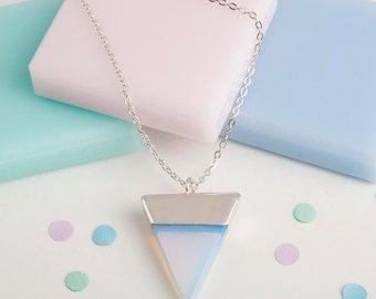 Long silver pendant   Long pendant necklace   Opalite triangle necklace   Geometric jewellery   Long silver chain   Glass pendant