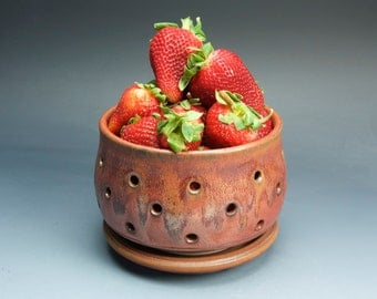 Sale - Handmade pottery berry bowl and saucer brick red - 3249