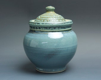 Handmade pottery sugar bowl storage jar tea caddy blue/green 3490