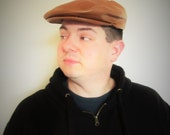 Vintage Brown Leather Men's Cap / Size Large Hush Puppies Headwear Newsboy Golf Hat