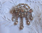 Vintage Silver Tone Flower-Shaped Brooch with Five Dangling Pieces Covered with Clear Faceted Rhinestones