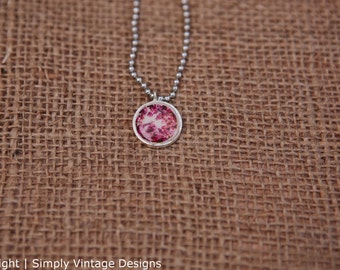 Pink Flower Spring Tree - Silver Mini Pendant 16mm