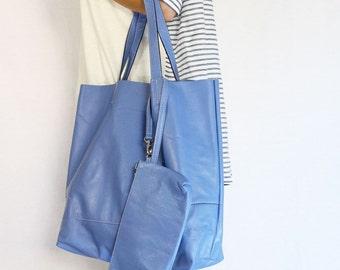Sample Sale - Leather Tote Bag / Handbag / with Samll Pouch - Blue