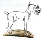 Schnauzer Dog Wire Sculpture, Folk Wire Art, Dog Sculpture, 266271513