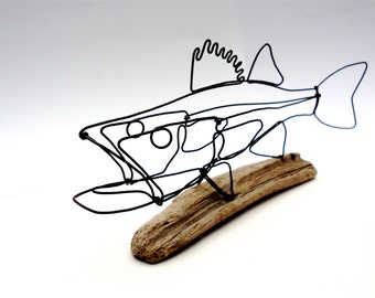Walleye Fish Wire Sculpture. Fish Wire Art, Minimal Sculpture, 479767291