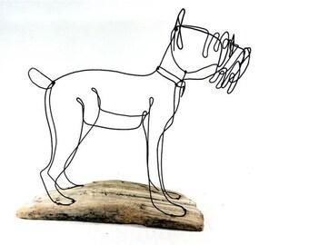 Schnauzer Dog Wire Sculpture, Folk Wire Art, Dog Sculpture, 266271513