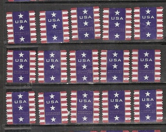 25 PATRIOTIC BANNER Used but Uncancelled U.S. Presorted Postage Stamps  (Red, White & Blue)