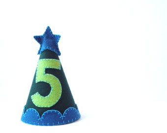 Green Birthday Party Hat--Custom Made