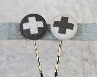 Swiss Cross Fabric Button Bobby Pin Pair