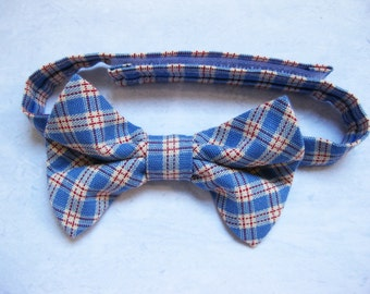 SALE 50% OFF Boys blue check bow tie toddler plaid bow tie cake smash photo prop blue red adjustable bow tie- Country Blues