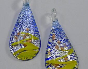 Murano style silver foil teardrop pendant, 30x50mm + 10mm bail - #1606