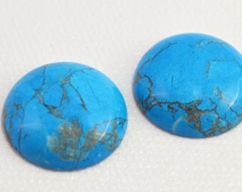 Turquoise (howlite) cabochon, 20mm round - #1815