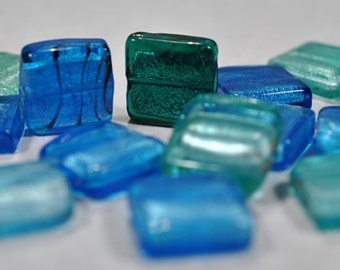 Blue/green foil glass beads, 20mm, #663