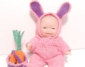 RESERVED Bunny Doll, Crocheted Pink Rabbit Outfit,  Rabbit with Basket, Easter Rabbit Decoration, Doll Collection
