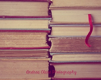 Old Books, Fine Art Photography, Photo, Print, Photograph, Red, Warm, Antique, Retro, Still life, book mark, library, collection, reader,