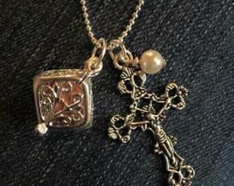 Silver crucifix Oil Diffuser Necklace