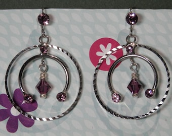 "1 3/4"" Lavender Pierce Hoop Earrings Etched Silver Tone Rings Encrusted Faceted Rhinestones Swarovski Crystal Party Fashion Dressy Gift Idea"