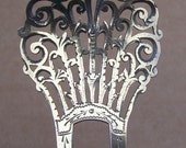 Victorian hair comb Sterling silver with openwork design hair pin hair pick hair accessory hair jewelry hair ornament decorative comb