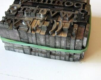 Vintage Metal Letterpress Type 26 plus Pieces Lowercase Complete