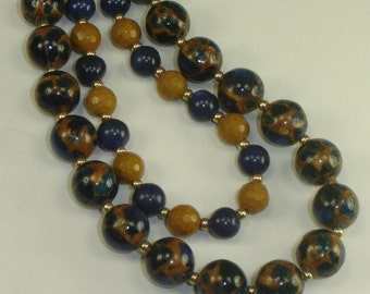 Dyed Agate and Ironstone Navy and Tan Necklace