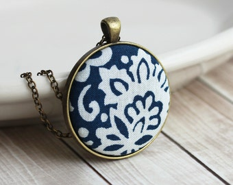 Navy Boho Necklace, Navy Blue and White Jewelry, Bohemian Pendant, Floral Fabric Pendant, Navy Blue Hippie Jewelry, Unique Jewelry for Women