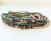 Forest Garnet Long Seed Bead Stretch 12 Wrap Bracelet, Necklace