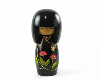 Vintage Kokeshi, Wooden Kokeshi Doll, Wood Doll from Japan, Creative Kokeshi, Miyagawa Kunio