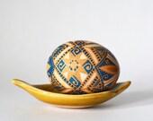 Traditional acide etched brown hen egg,Pysanka,batik painted shell,Ukrainian Easter egg,symbol or forty day lent,Christ resurrection,Easter