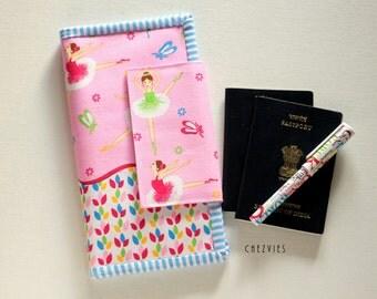 Pink Family Passport Holder, Travel Document Holder, Family Travel Wallet, Ballerina Wallet , Personalized Gift For Ballerina