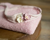 Newborn Headband and Baby Wrap Set, Baby Pale Pink Stretch Wrap, Pearl Headband, Ivory Baby Tieback, Newborn Props, Pink Wrap, Baby Halo