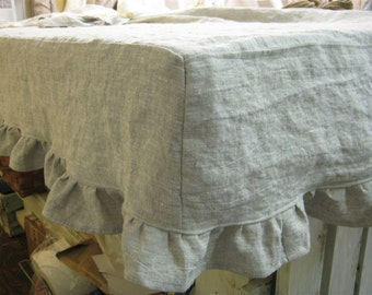 "Made to Order-Washed Linen Fitted Ruffled Tablecloth-TableSize up to 72"" x 36""-Fitted Washed Linen Tablecloth-Total Side Drop of 8 Inches"