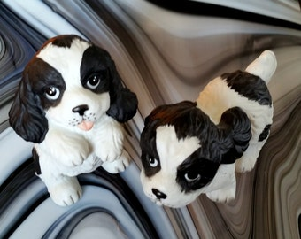 Vintage Homco Black and White Porcelain Puppies Dogs