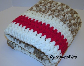 Crochet Blanket Red, Gray/Grey tan and ivory Sock Monkey 30X36 READY to SHIP