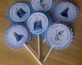 12 frozen cupcake toppers