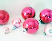 Seven Vintage Pink Ball Ornaments | Bubble Gum | Glass | Christmas Tree | Holiday Decor | Light Pink | Dark Pink | Mad Men