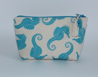 Aqua Seahorses Printed on Canvas Cosmetic Makeup Bag