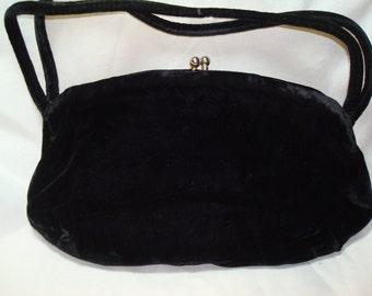 1960s Soft Black Velvet Handbag.