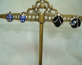 Vintage Black and Silver and Gold and Blue Ladybug Earrings.