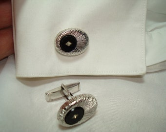 1950s 1960s Silver and Black Cufflinks.